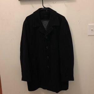 Calvin Klein Pea Coat Mens Wool Blend Black